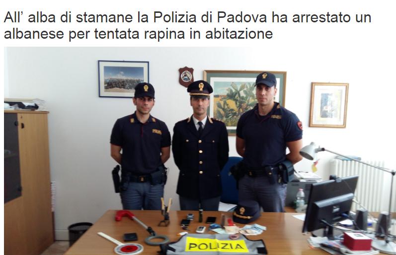 Furti e rapine Padova - sventata rapina