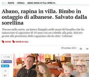 Rapina in villa Abano Padova vittima bambino
