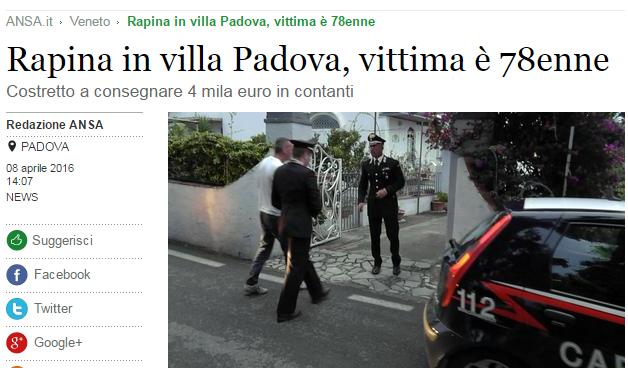 Rapina in villa a Padova vittima un anziano